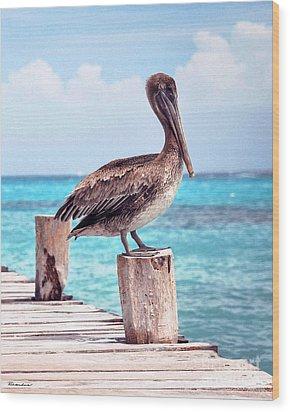 Treasure Coast Pelican Pier Seascape C1 Wood Print by Ricardos Creations