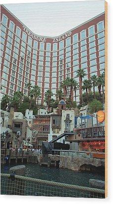 Treasure Island Hotel And Casino Las Vegas Nevada Wood Print by Alan Espasandin