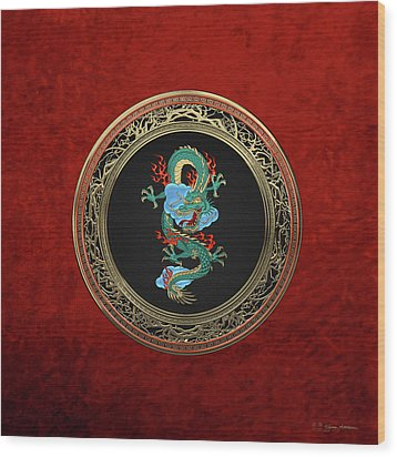 Treasure Trove - Turquoise Dragon Over Red Velvet Wood Print by Serge Averbukh