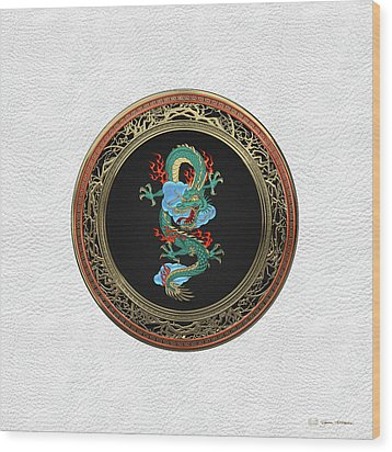 Treasure Trove - Turquoise Dragon Over White Leather Wood Print by Serge Averbukh