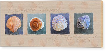 Treasured Memories Sea Shell Collection Wood Print by Jai Johnson