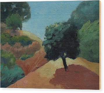 Wood Print featuring the painting Tree Alone by Gary Coleman