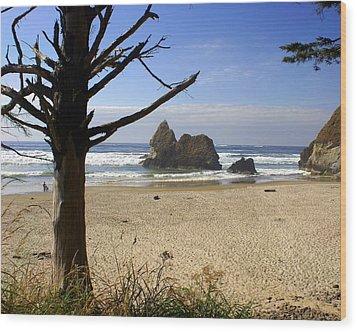 Tree And Ocean Wood Print by Marty Koch