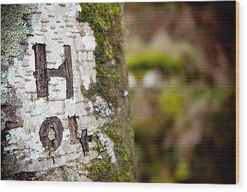 Tree Bark Graffiti - H 04 Wood Print