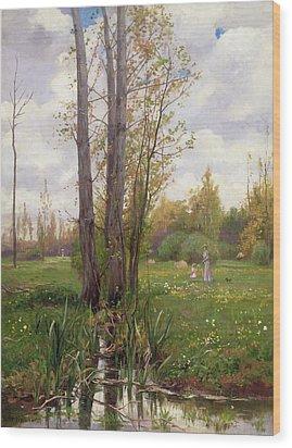 Tree Beside Water  Wood Print by Ernest Le Villain