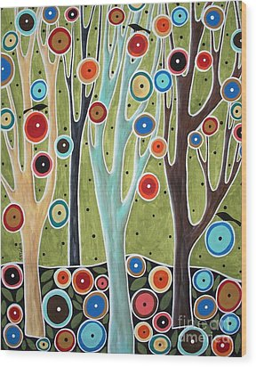 Tree Blooms And Birds Wood Print by Karla Gerard