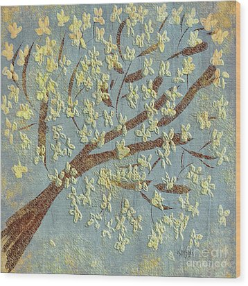 Wood Print featuring the digital art Tree Blossoms by Lois Bryan