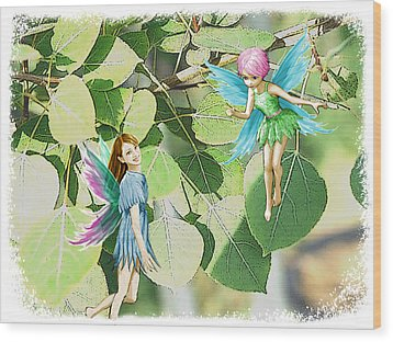 Tree Fairies Among The Quaking Aspen Leaves Wood Print