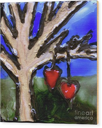 Wood Print featuring the painting Tree Hearts by Genevieve Esson