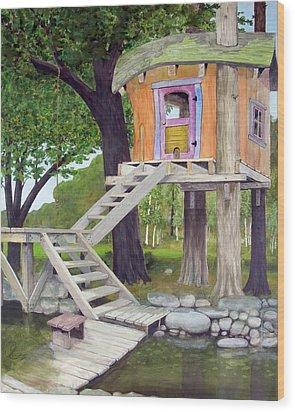 Tree House Pond Wood Print by Will Lewis