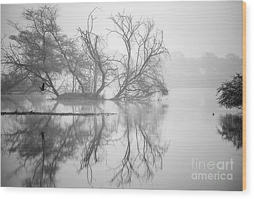 Tree In A Lake Wood Print by Pravine Chester