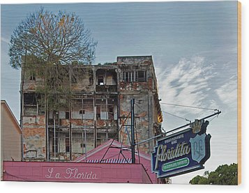 Tree In Building Over La Floridita Havana Cuba Wood Print by Charles Harden