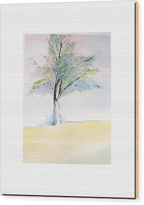 Wood Print featuring the painting Tree In Pastel Colors by Sibby S