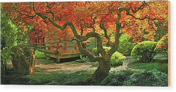 Tree, Japanese Garden Wood Print
