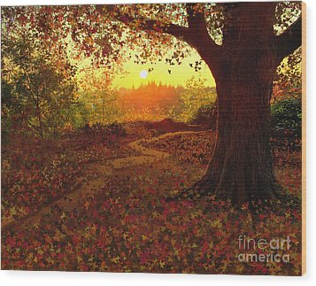Tree Leaves Wood Print by Robert Foster