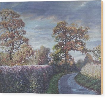 Wood Print featuring the painting Tree Lined Countryside Road by Martin Davey