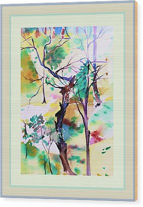 Wood Print featuring the painting Tree Lovers by Mindy Newman
