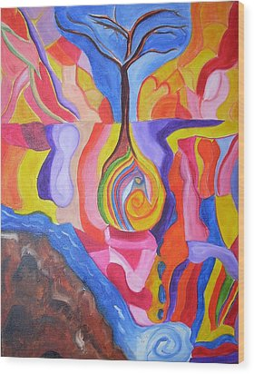 Tree Of Color Wood Print by Joseph  Arico
