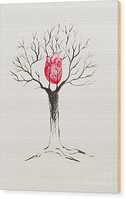 Tree Of Hearts Wood Print by Stefanie Forck