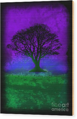 Tree Of Life - Purple Sky Wood Print by Robert R Splashy Art