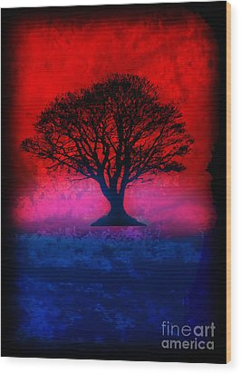 Tree Of Life - Red Sky Wood Print by Robert R Splashy Art