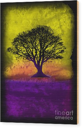 Tree Of Life - Yellow Sunburst Sky Wood Print by Robert R Splashy Art
