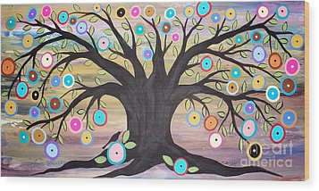 Tree Of Life And Bird Wood Print by Karla Gerard
