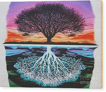 Tree Of Life And Negative Wood Print by Brian Schuster
