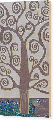 Tree Of Life Wood Print by Angelina Vick