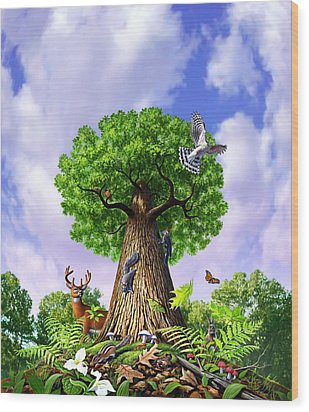 Tree Of Life Wood Print by Jerry LoFaro
