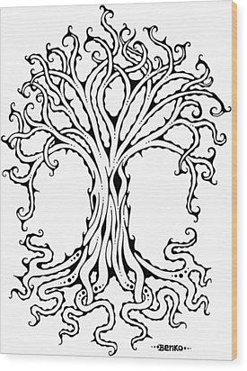 Tree Of Life Wood Print by John Benko