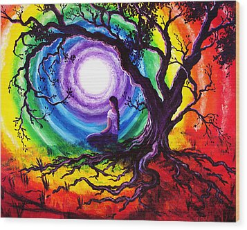 Tree Of Life Meditation Wood Print by Laura Iverson