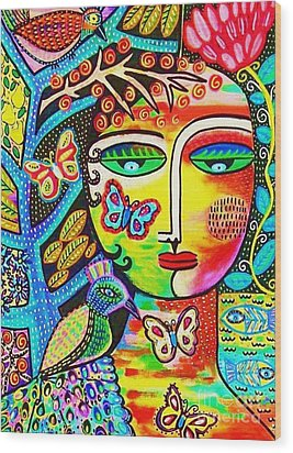 Tree Of Life Paradise Goddess Wood Print by Sandra Silberzweig