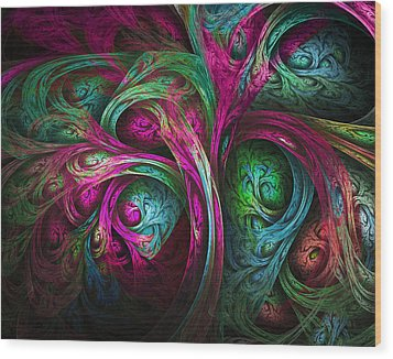 Tree Of Life-pink And Blue Wood Print by Tammy Wetzel