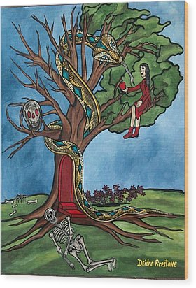 Tree Of Life Temptation And Death Wood Print by Deidre Firestone