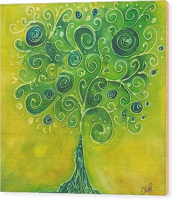 Tree Of Life Yellow Swirl Wood Print by Christy  Freeman