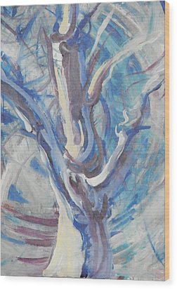 Wood Print featuring the painting Tree Of Light by John Fish