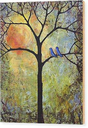 Tree Painting Art - Sunshine Wood Print by Blenda Studio