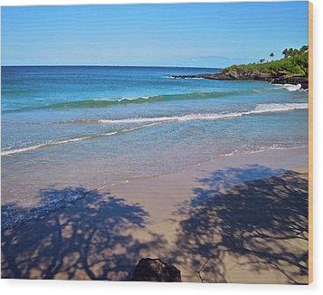 Tree Shadows At Hapuna Beach Wood Print