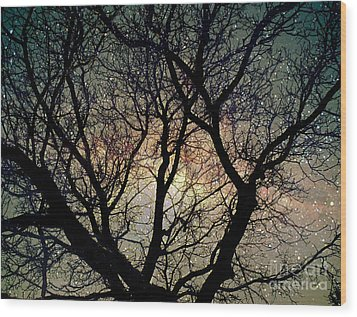 Wood Print featuring the photograph Tree Silhouette With Stars. by Yulia Kazansky