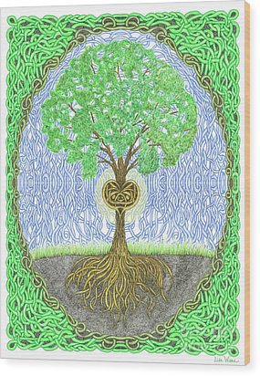 Tree With Heart And Sun Wood Print by Lise Winne