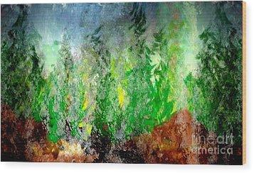Wood Print featuring the painting Trees 4 by John Krakora