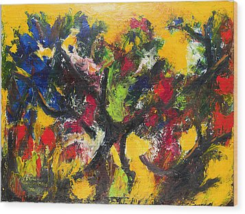 Trees At Sunset Wood Print by Ali Hammoud