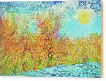 Wood Print featuring the digital art Trees Flow With Sky - Boulder County Colorado by Joel Bruce Wallach