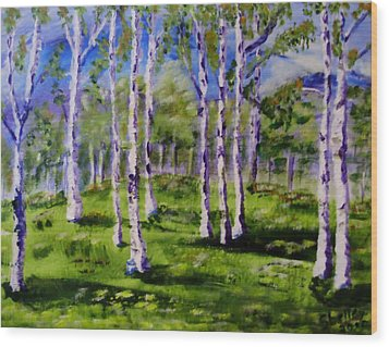 Trees In The Meadow Wood Print