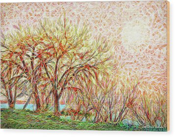 Wood Print featuring the digital art Trees In Winter Under Full Moon At Dusk by Joel Bruce Wallach