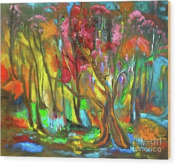 Trees Wood Print by Jenny Lee