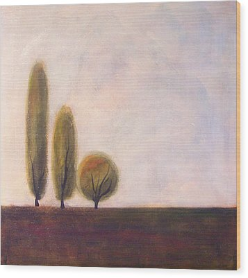 Trees Of Tuscany 2 Wood Print by Victoria Heryet