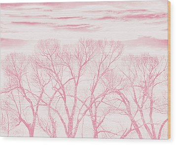 Wood Print featuring the photograph Trees Silhouette Pink by Jennie Marie Schell