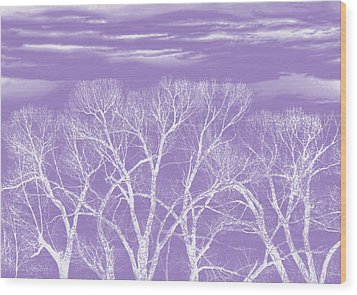 Wood Print featuring the photograph Trees Silhouette Purple by Jennie Marie Schell